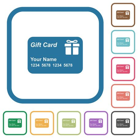 Gift card with name and numbers simple icons in color rounded square frames on white background Foto de archivo - 124603530