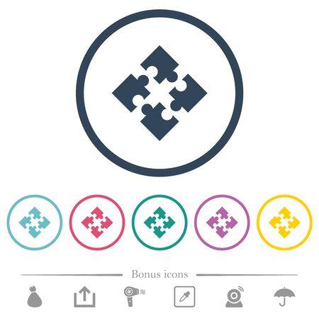 Modules flat color icons in round outlines. 6 bonus icons included. Ilustração