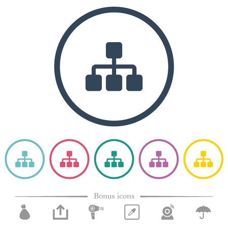 Network flat color icons in round outlines. 6 bonus icons included. Banque d'images - 124930017
