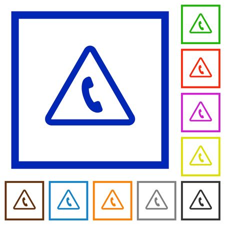 Emergency call flat color icons in square frames on white background Illustration