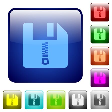 Compressed file icons in rounded square color glossy button set
