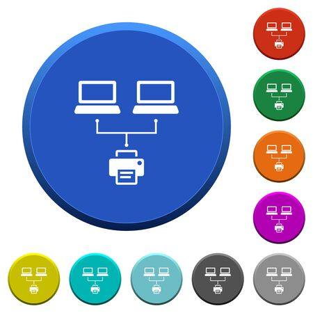 Network printing round color beveled buttons with smooth surfaces and flat white icons Illustration