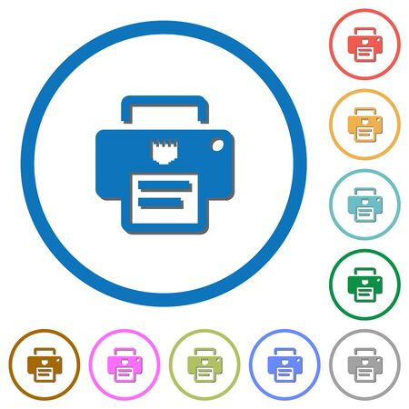 IP printer flat color vector icons with shadows in round outlines on white background
