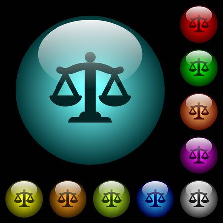 Scale of law icons in color illuminated spherical glass buttons on black background. Can be used to black or dark templates