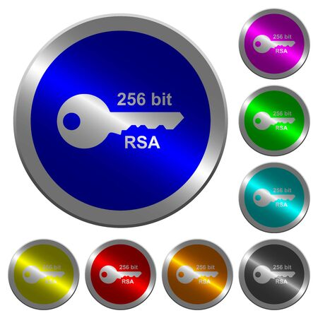 256 bit rsa encryption icons on round luminous coin-like color steel buttons Illustration