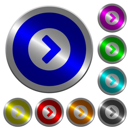 Chevron right icons on round luminous coin-like color steel buttons