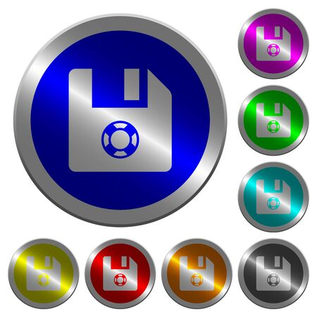 Help file icons on round luminous coin-like color steel buttons