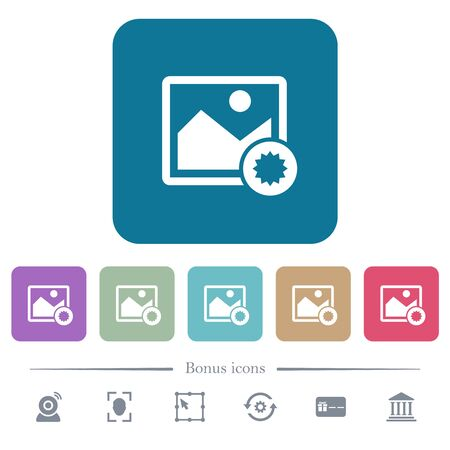 Authentic image white flat icons on color rounded square backgrounds. 6 bonus icons included