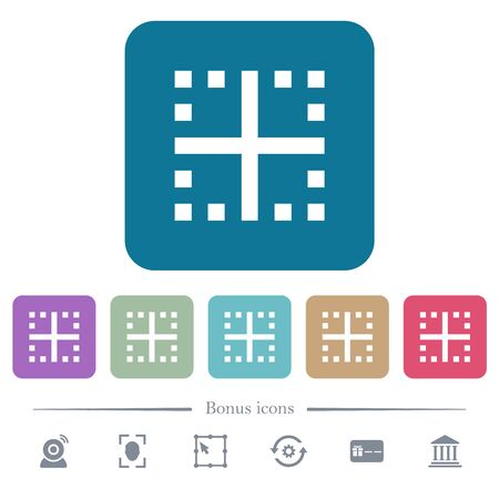 Inner borders white flat icons on color rounded square backgrounds. 6 bonus icons included