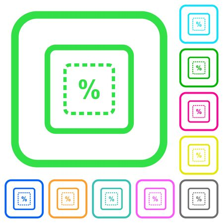 Scale object by percent vivid colored flat icons in curved borders on white background Ilustração