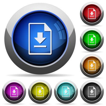 Download file icons in round glossy buttons with steel frames