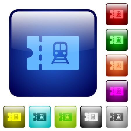 Railroad discount coupon icons in rounded square color glossy button set 矢量图像