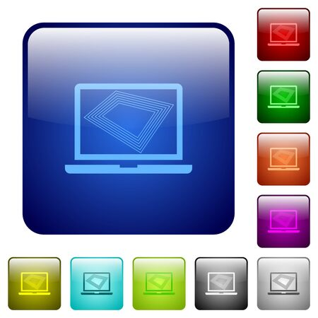 Screen saver on laptop icons in rounded square color glossy button set Иллюстрация