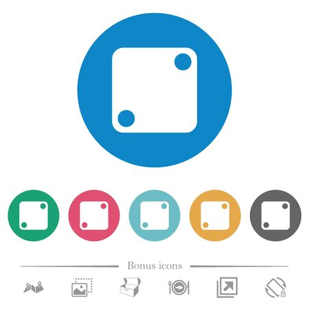 Domino two flat white icons on round color backgrounds. 6 bonus icons included.