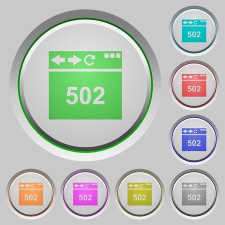 Browser 502 Bad gateway color icons on sunk push buttons Illustration