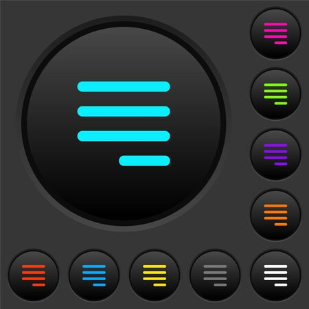 Text align justify last row right dark push buttons with vivid color icons on dark grey background Ilustração