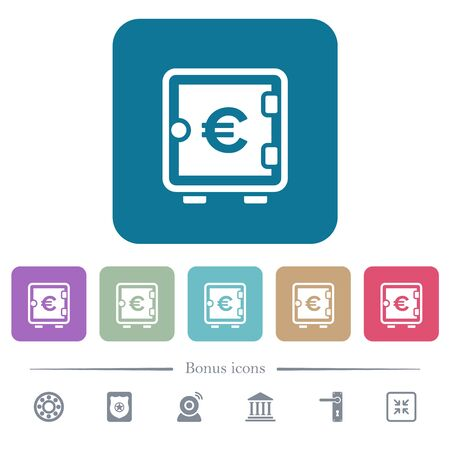 Euro strong box white flat icons on color rounded square backgrounds. 6 bonus icons included