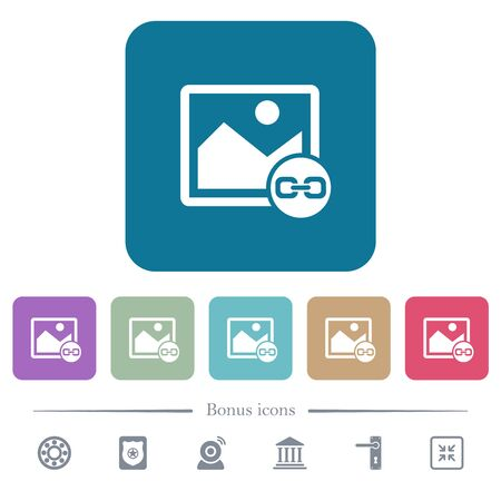 Link image white flat icons on color rounded square backgrounds. 6 bonus icons included