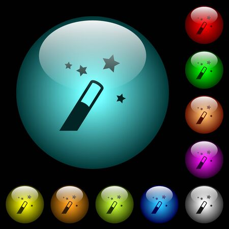 Magic wand icons in color illuminated spherical glass buttons on black background. Can be used to black or dark templates