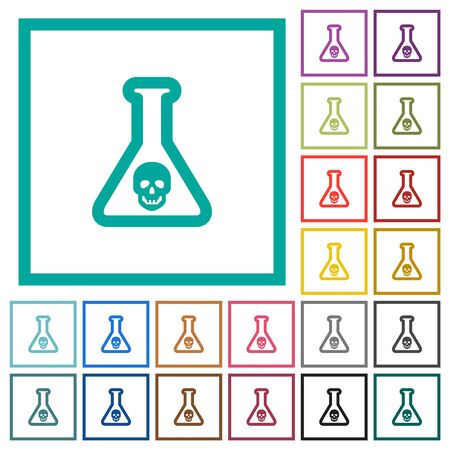 Dangerous chemical experiment flat color icons with quadrant frames on white background Ilustrace
