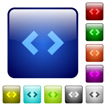 Script code sign icons in rounded square color glossy button set Foto de archivo - 125998361