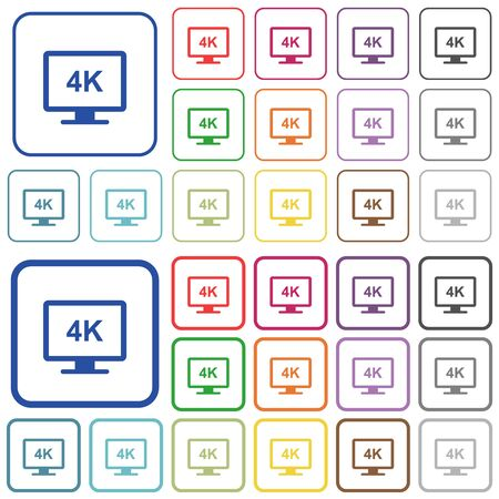 4K display color flat icons in rounded square frames. Thin and thick versions included.