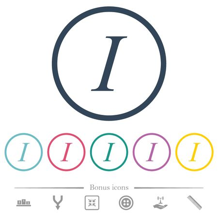 Italic font type flat color icons in round outlines. 6 bonus icons included.