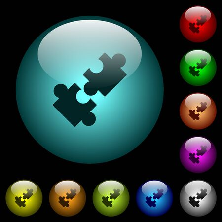 Cooperation icons in color illuminated spherical glass buttons on black background. Can be used to black or dark templates