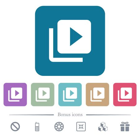 Video library white flat icons on color rounded square backgrounds. 6 bonus icons included Illustration