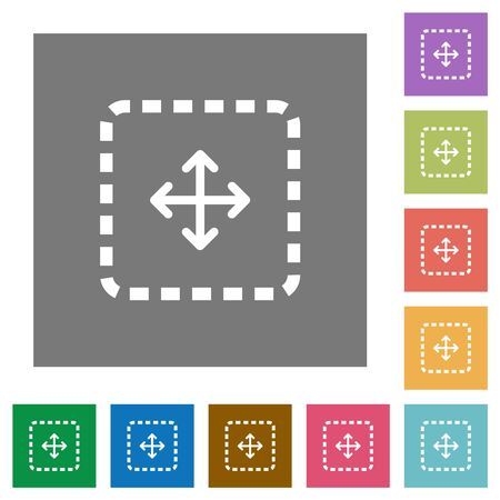 Drag object flat icons on simple color square backgrounds