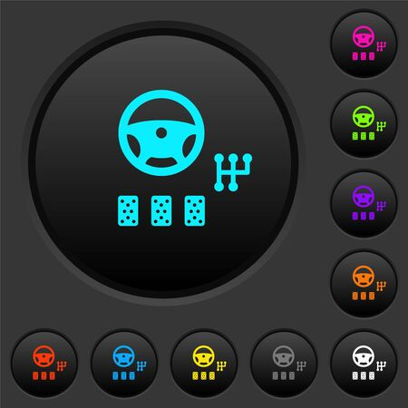 Car controls dark push buttons with vivid color icons on dark grey background
