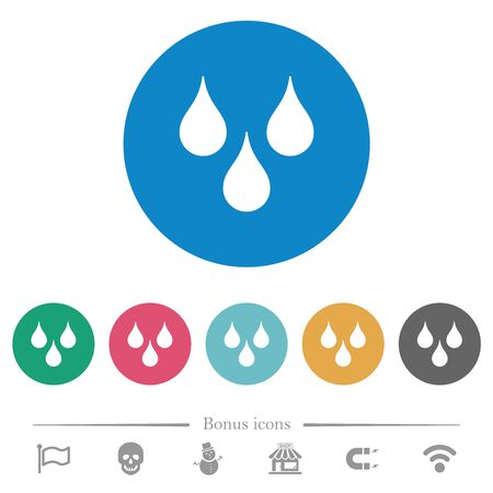 Water drops flat white icons on round color backgrounds. 6 bonus icons included.