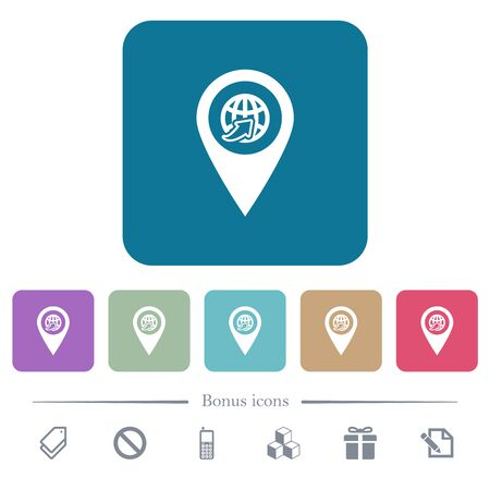 International route GPS map location white flat icons on color rounded square backgrounds. 6 bonus icons included