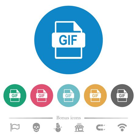 GIF file format flat white icons on round color backgrounds. 6 bonus icons included. Illustration