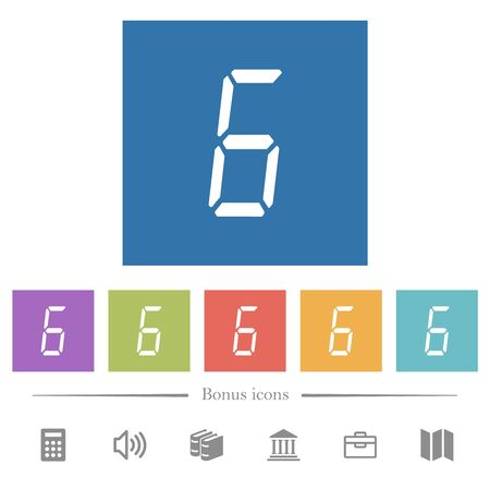 digital number six of seven segment type flat white icons in square backgrounds. 6 bonus icons included.