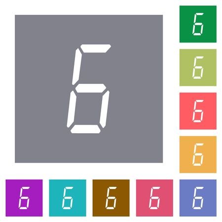 digital number six of seven segment type flat icons on simple color square backgrounds