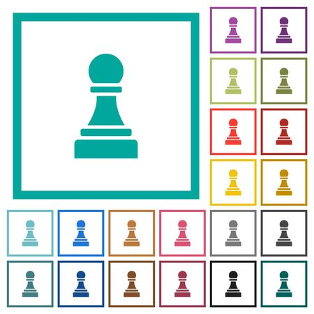 Black chess pawn flat color icons with quadrant frames on white background