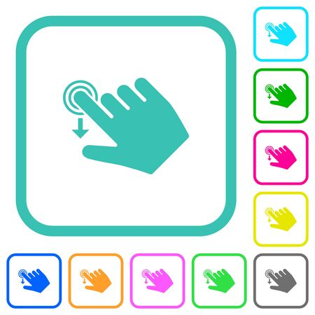 Right handed slide down gesture vivid colored flat icons in curved borders on white background