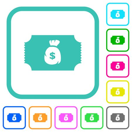 Ticket with dollar bag vivid colored flat icons in curved borders on white background Illusztráció