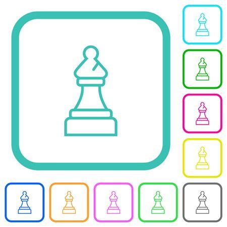 Icônes plates colorées vives d'évêque d'échecs blanches dans les frontières incurvées sur le fond blanc
