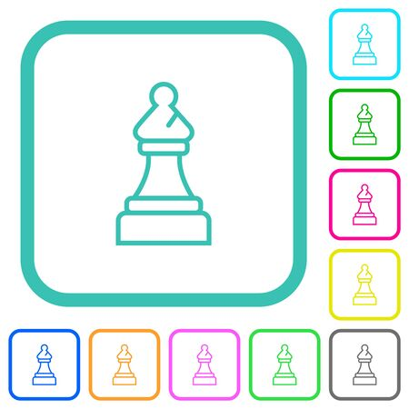 White chess bishop vivid colored flat icons in curved borders on white background