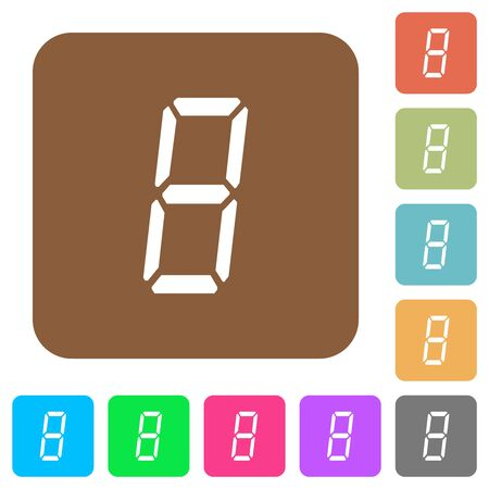 digital number eight of seven segment type flat icons on rounded square vivid color backgrounds.