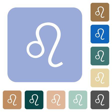 Leo zodiac symbol white flat icons on color rounded square backgrounds Illustration