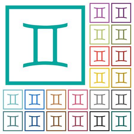 Gemini zodiac symbol flat color icons with quadrant frames on white background Illustration