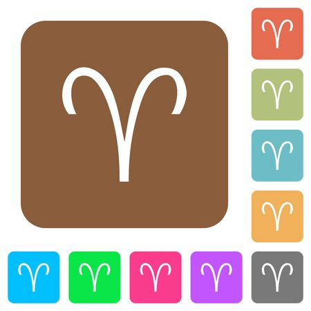 Aries zodiac symbol flat icons on rounded square vivid color backgrounds.