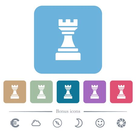 Black chess rook white flat icons on color rounded square backgrounds. 6 bonus icons included