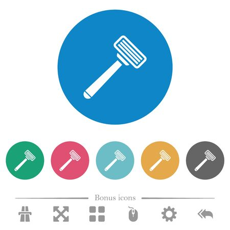 Razor flat white icons on round color backgrounds. 6 bonus icons included. Illustration