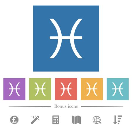 Pisces zodiac symbol flat white icons in square backgrounds. 6 bonus icons included. Illustration