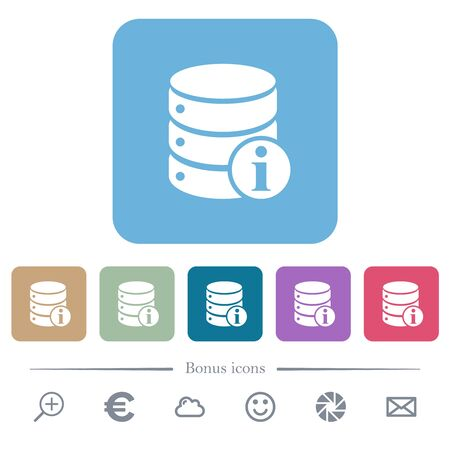 Database info white flat icons on color rounded square backgrounds. 6 bonus icons included
