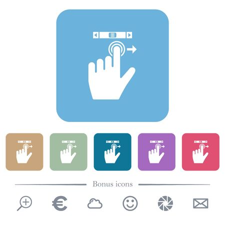 left handed scroll right gesture white flat icons on color rounded square backgrounds. 6 bonus icons included 向量圖像